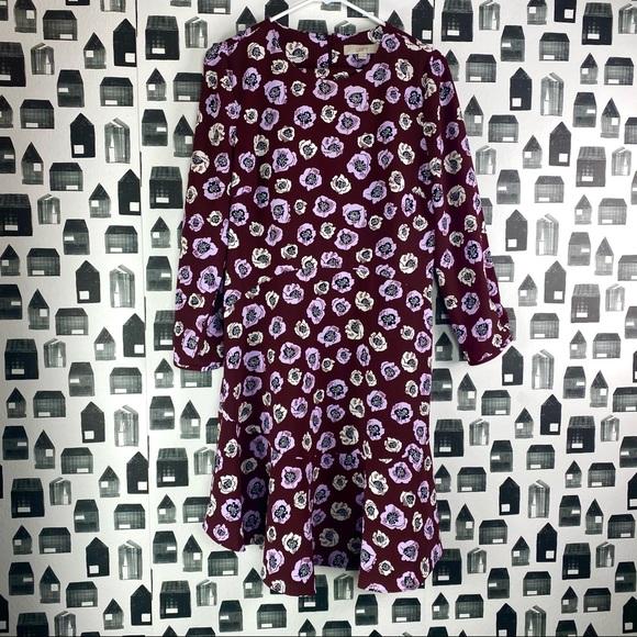 Ann Taylor Loft Floral Print 3/4 Sleeve Midi Dress